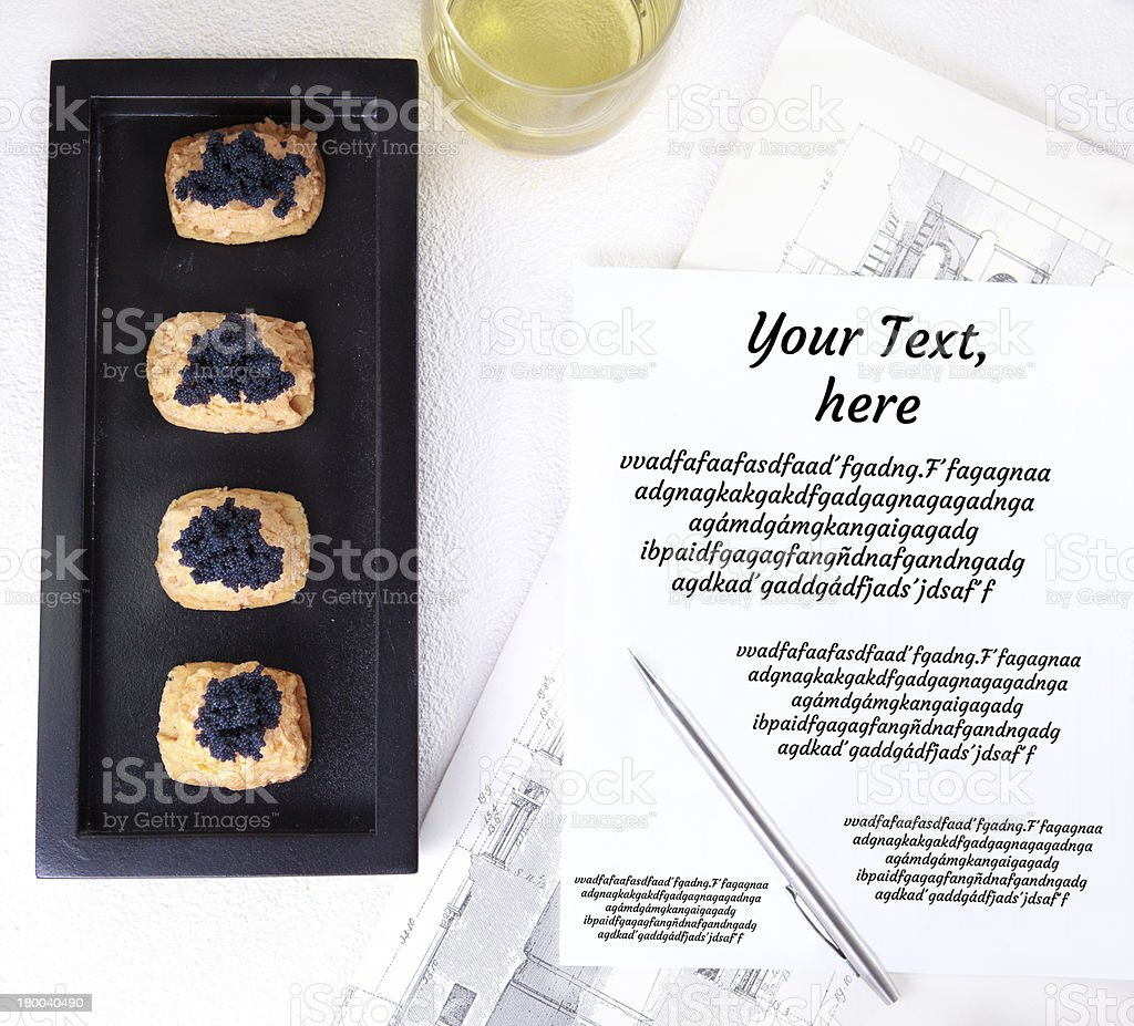 Caviar and salmon canape for closed business royalty-free stock photo