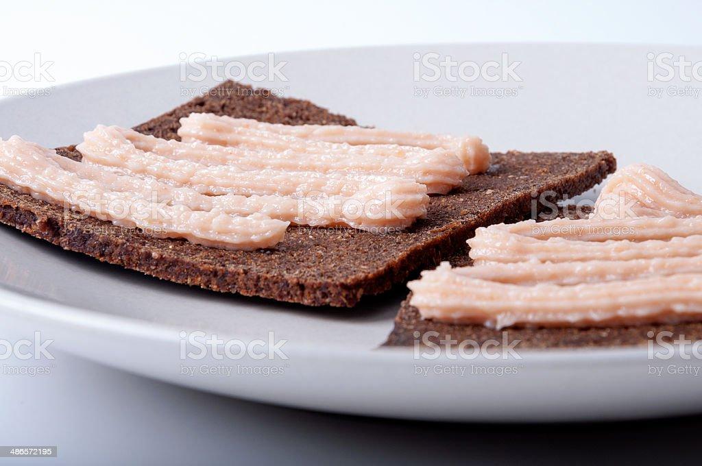 Caviar cream sandwich stock photo