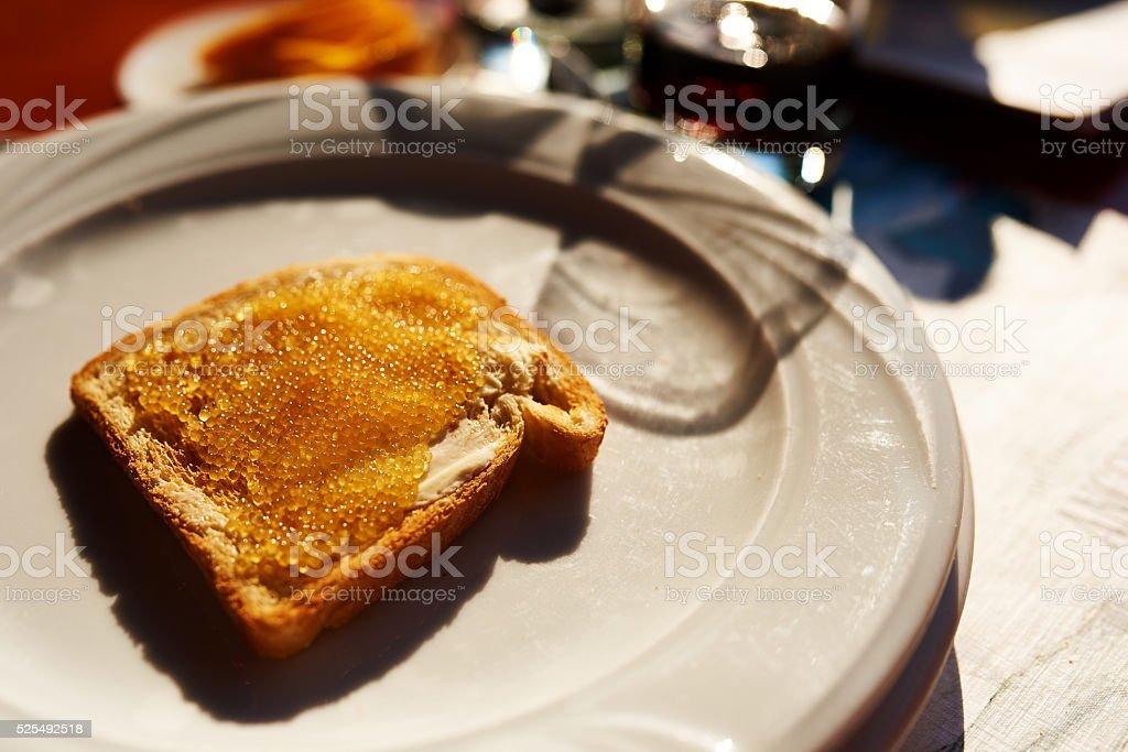 caviar on bread stock photo