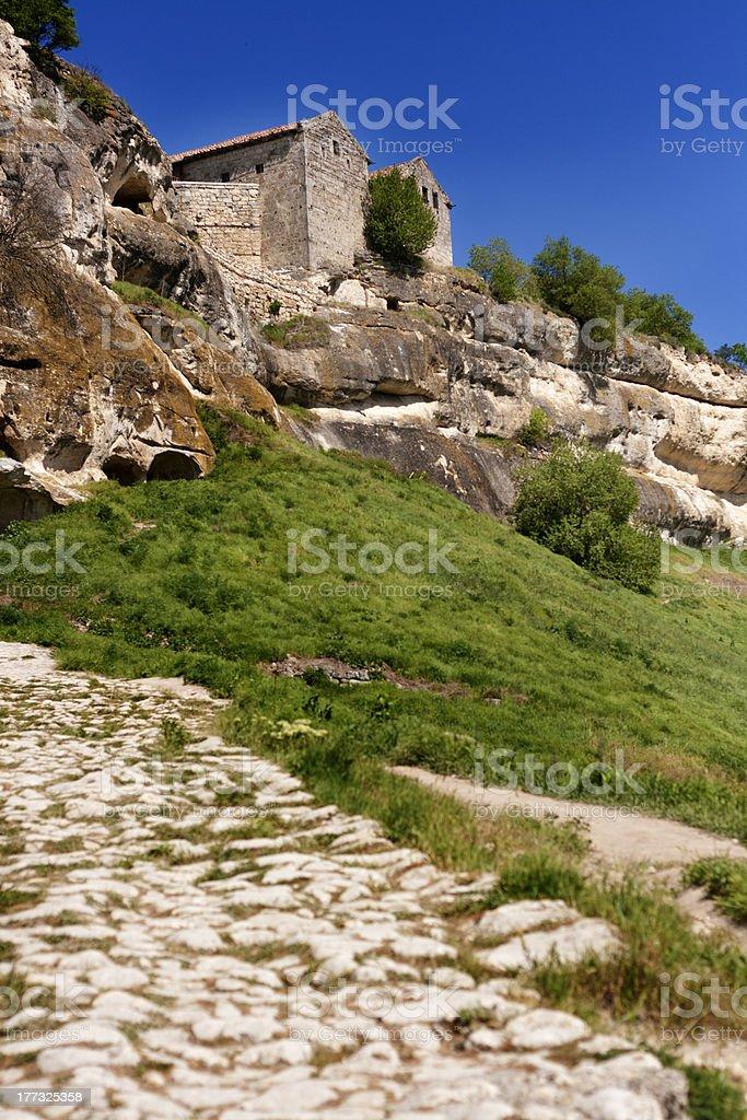 Caving ancient city Chufut Kale in Bakhchisaray, Ukraine royalty-free stock photo