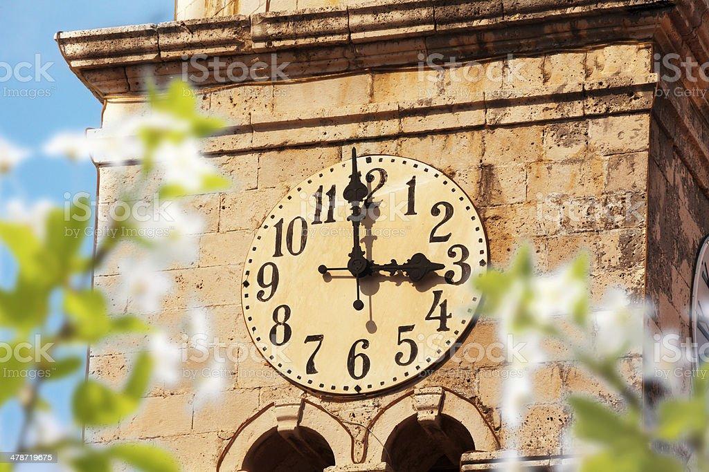 Cavtat clock tower stock photo
