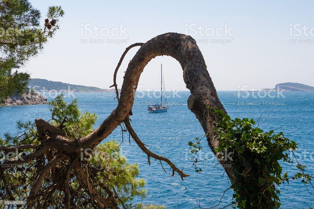 Cavtat harbor, Croatia stock photo