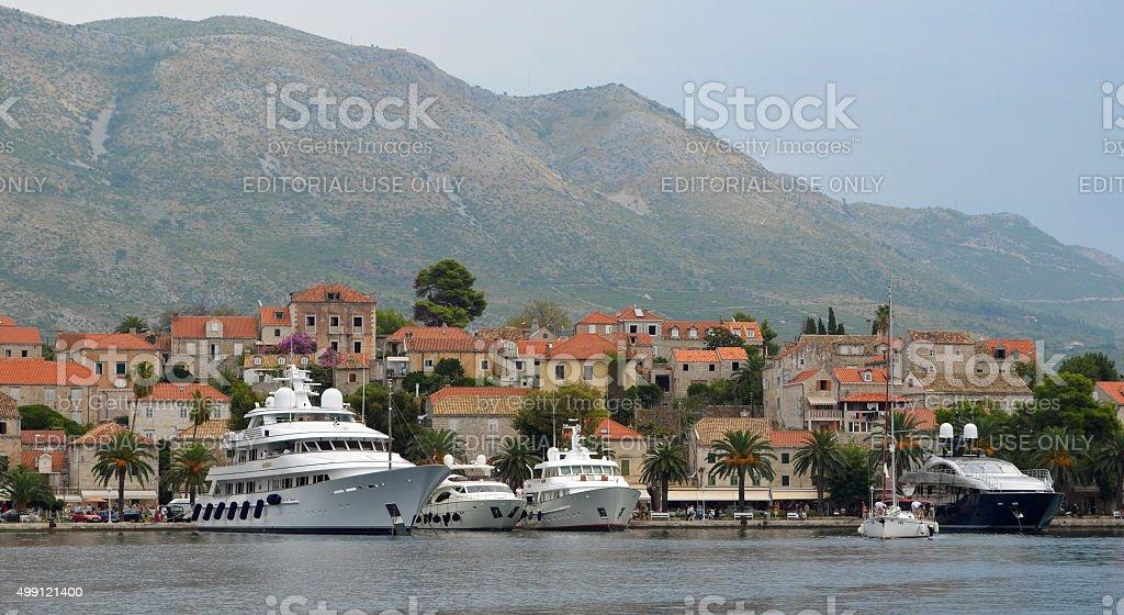 Cavtat harbor on the Croatian Coastline stock photo