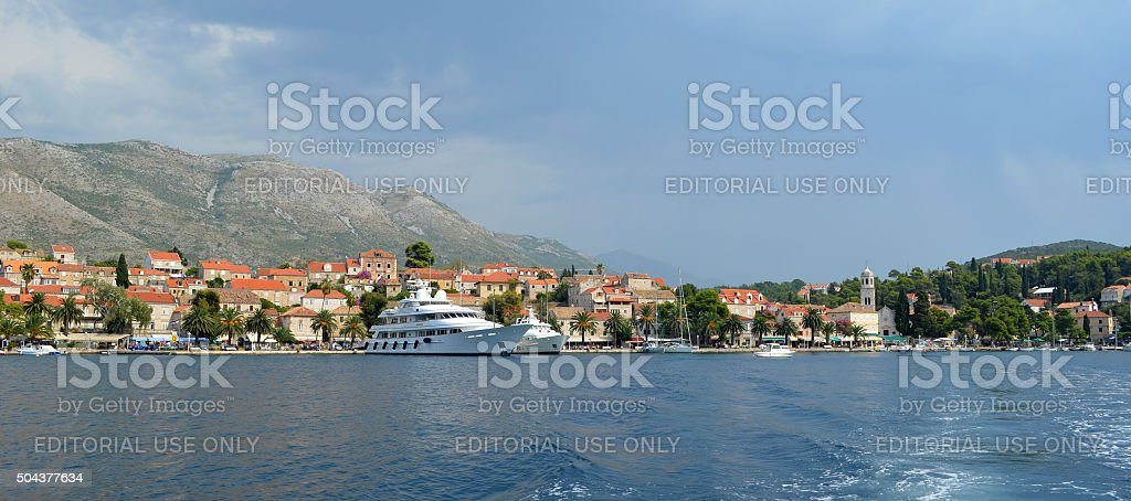 Cavtat harbor on the Croatian Coastline with luxury private yatchs stock photo