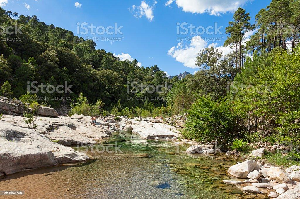 Cavu natural pool Sainte Lucie in Corsica, France stock photo