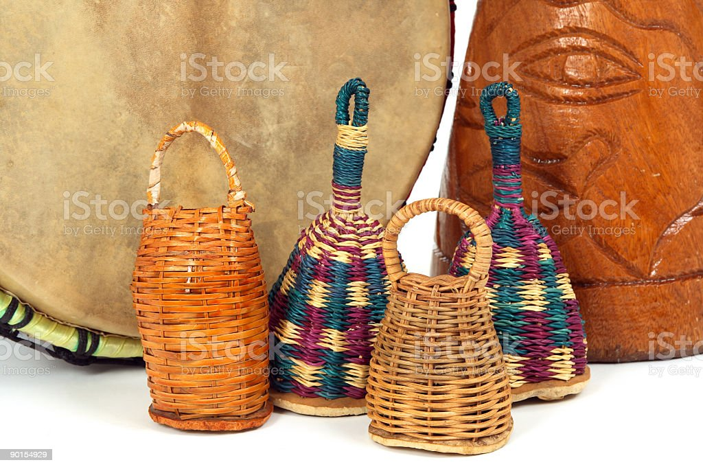 Caxixi shakers and African djembe drums stock photo