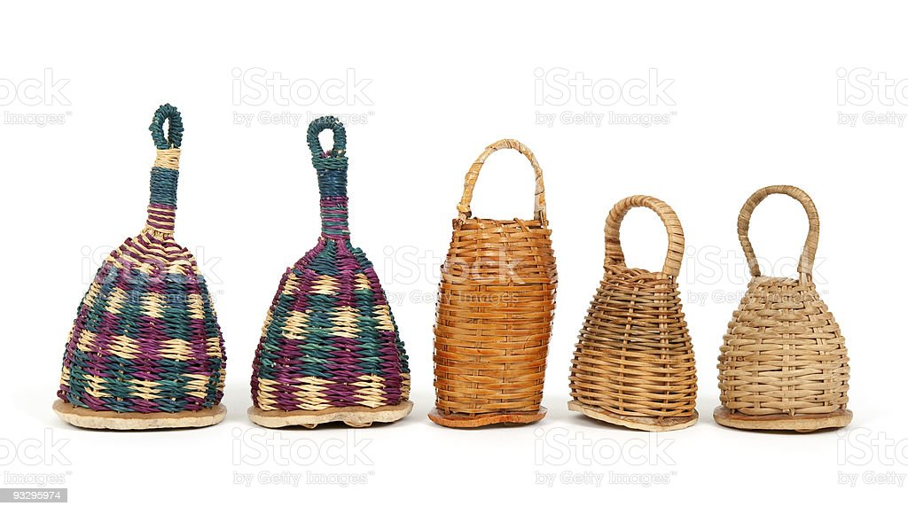 Caxixi shakers in a row stock photo