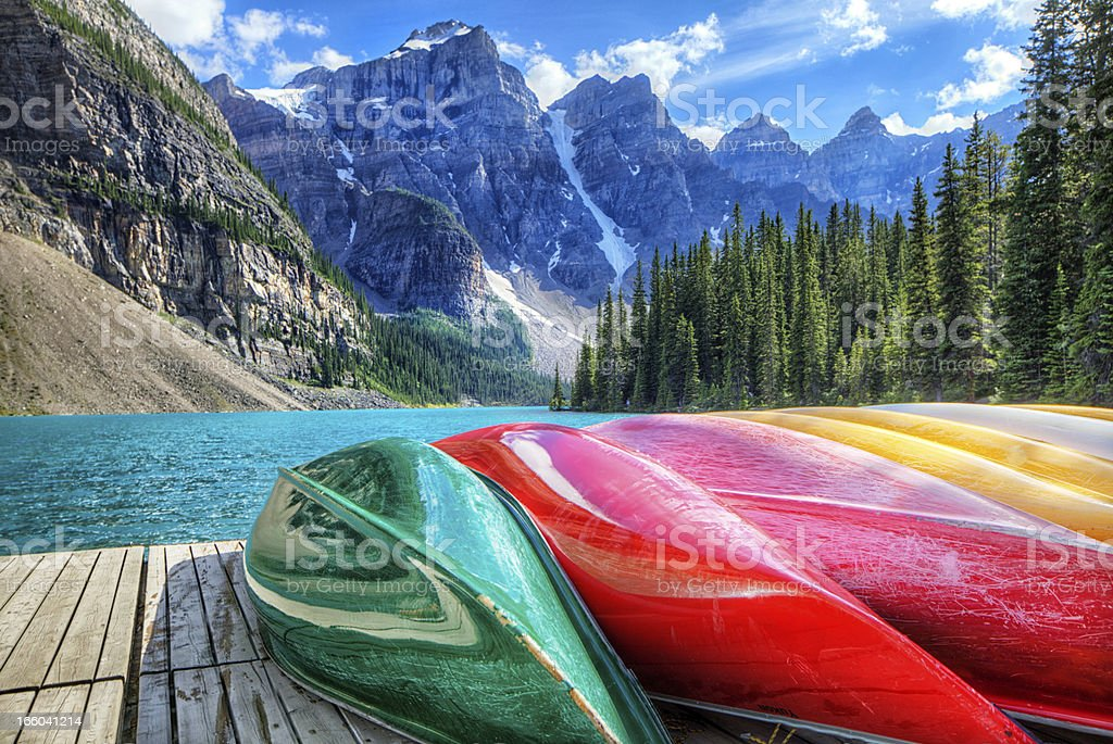 Cayaks on the Moraine Lake stock photo