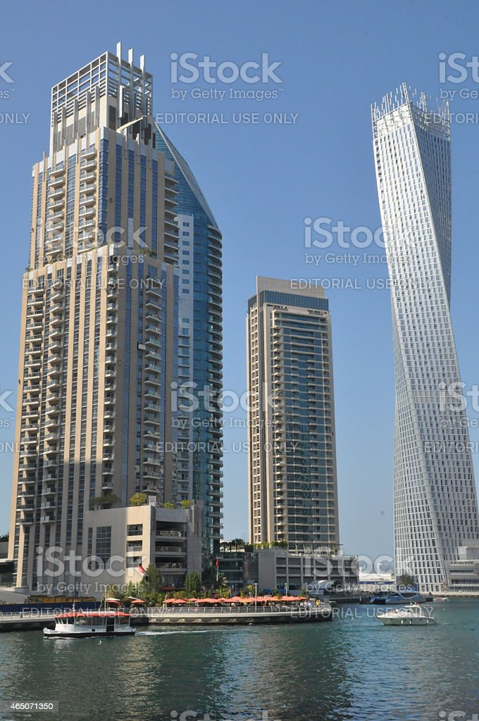 Cayan Tower at Dubai Marina in Dubai, UAE stock photo
