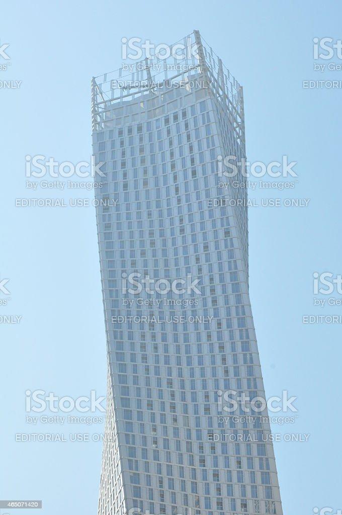 Cayan Tower at Dubai Marina in Dubai, UAE stock photo