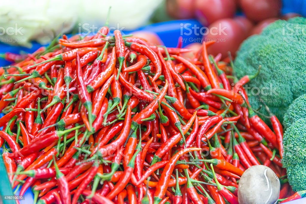 Cayenne pepper, chili spur pepper, long fed pepper, spur pepper, stock photo