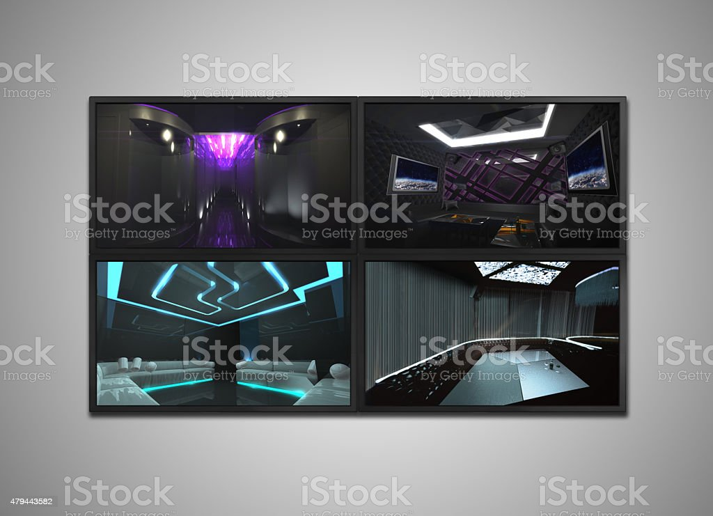 cctv monitor display for Nightclub interior stock photo