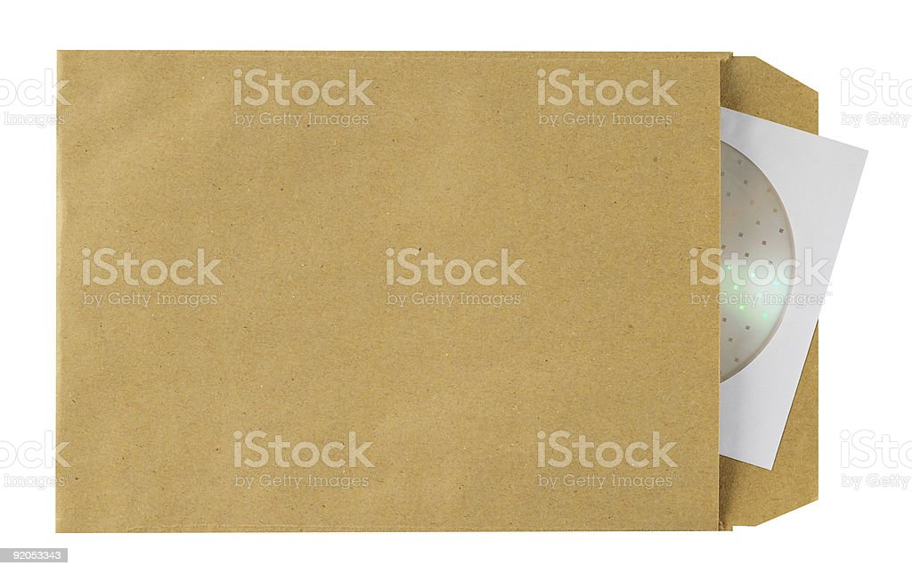 Cd by mail. Clipping path. stock photo