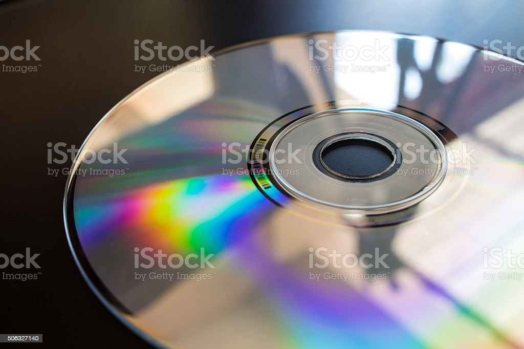 cd closeup ray reflect stock photo