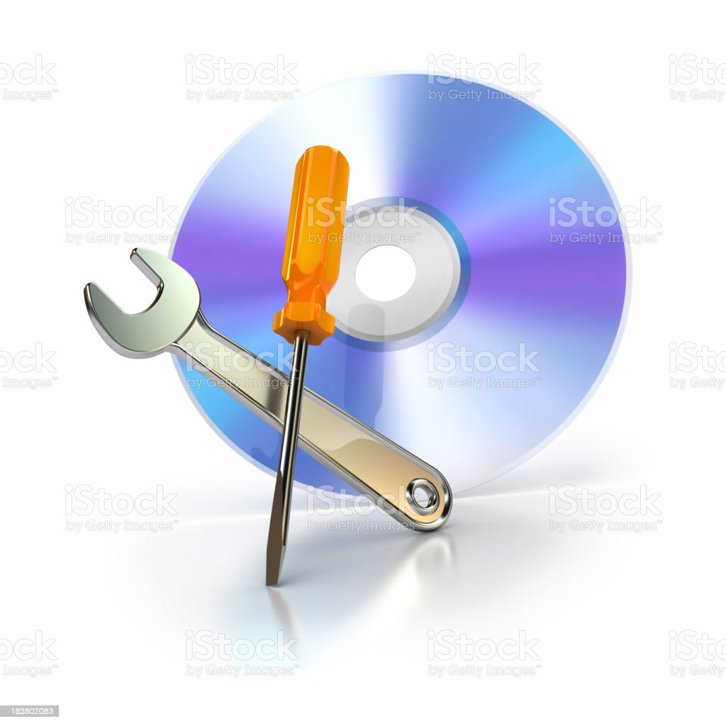 cd or dvd with support tools royalty-free stock photo