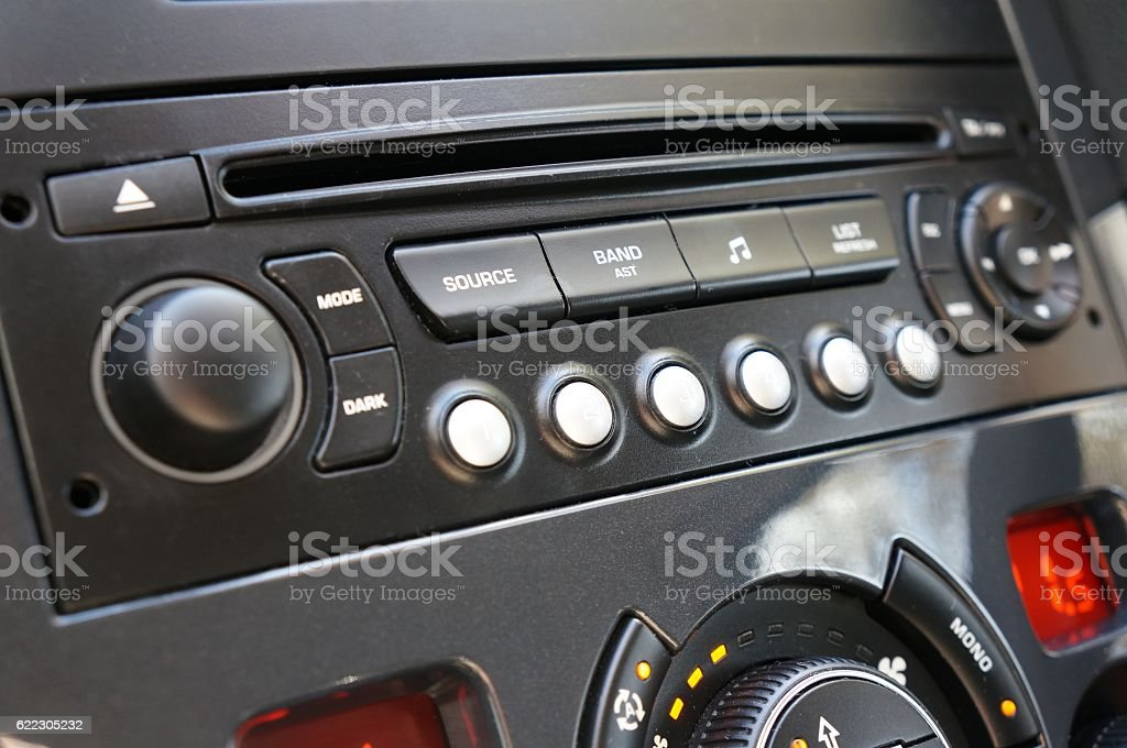 Cd player in modern car stock photo