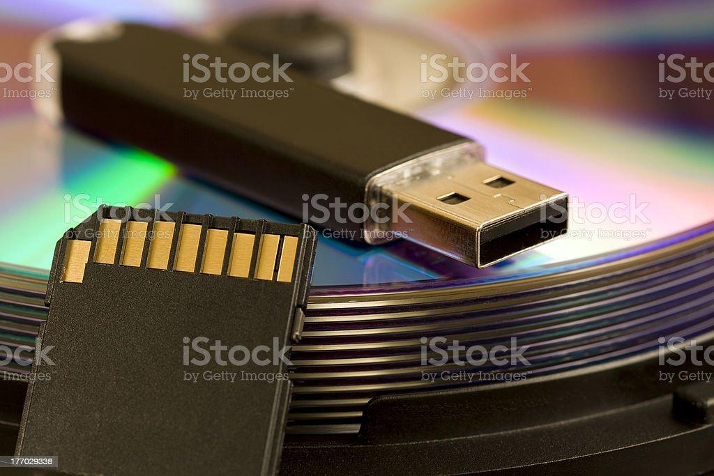 Cd, USB, SD card stock photo