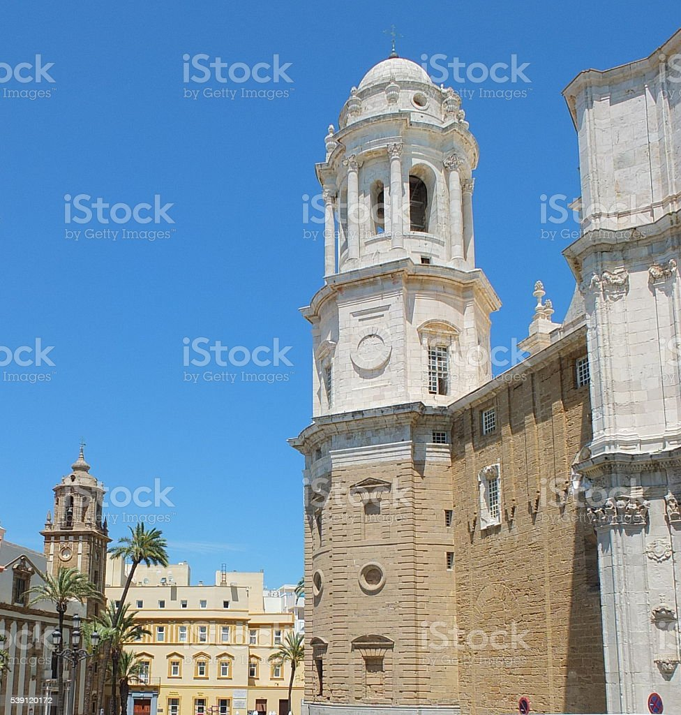 Cádiz Cathedral Bell Tower From Afar stock photo