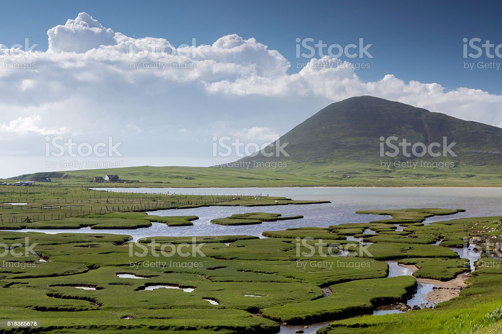Ceapabhal hill and saltings stock photo