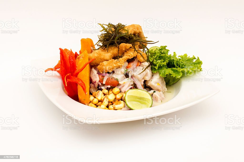 PERU DISH: Cebiche (ceviche) and 'chicharron' with onion, called 'Caretillero' stock photo