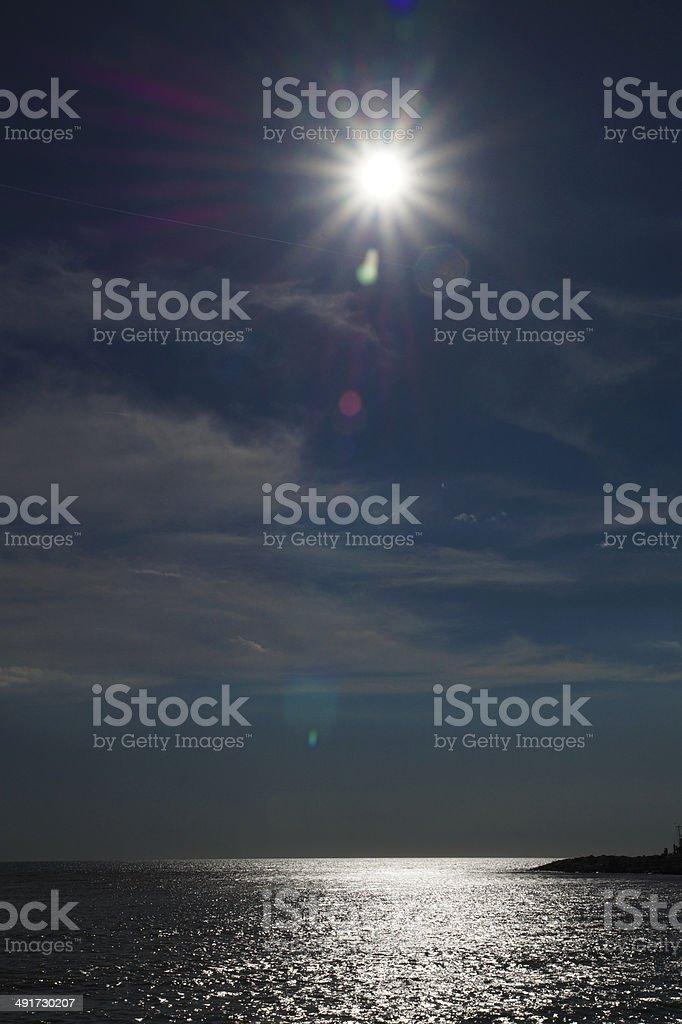 Cecina Sea, backlight sun stock photo