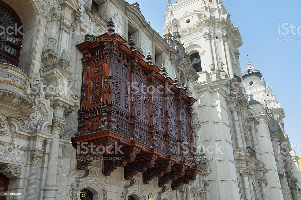Cedar balcony in the Archbishop's Palace in Lima stock photo