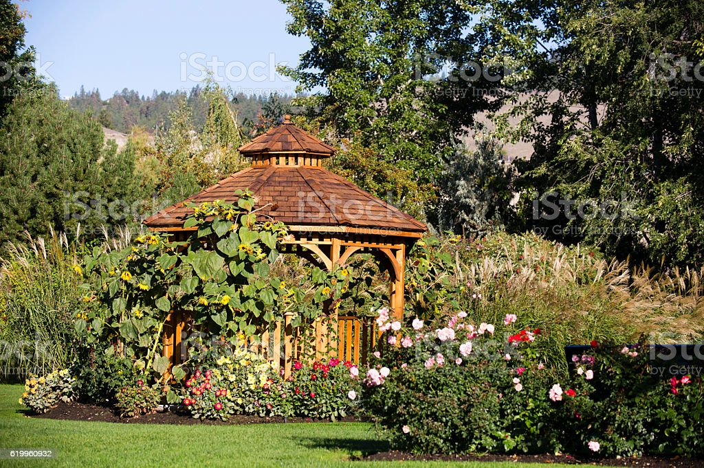 Cedar Gazebo Backyard Garden Park stock photo
