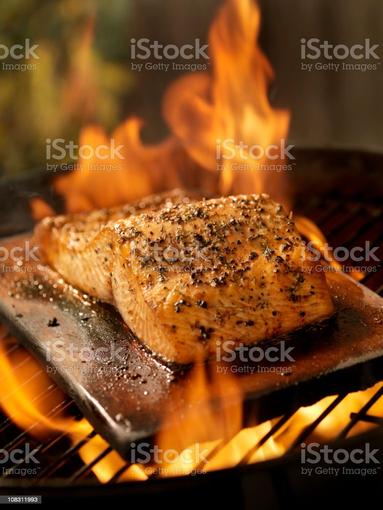 Cedar Plank Salmon Fillet on an outdoor BBQ royalty-free stock photo
