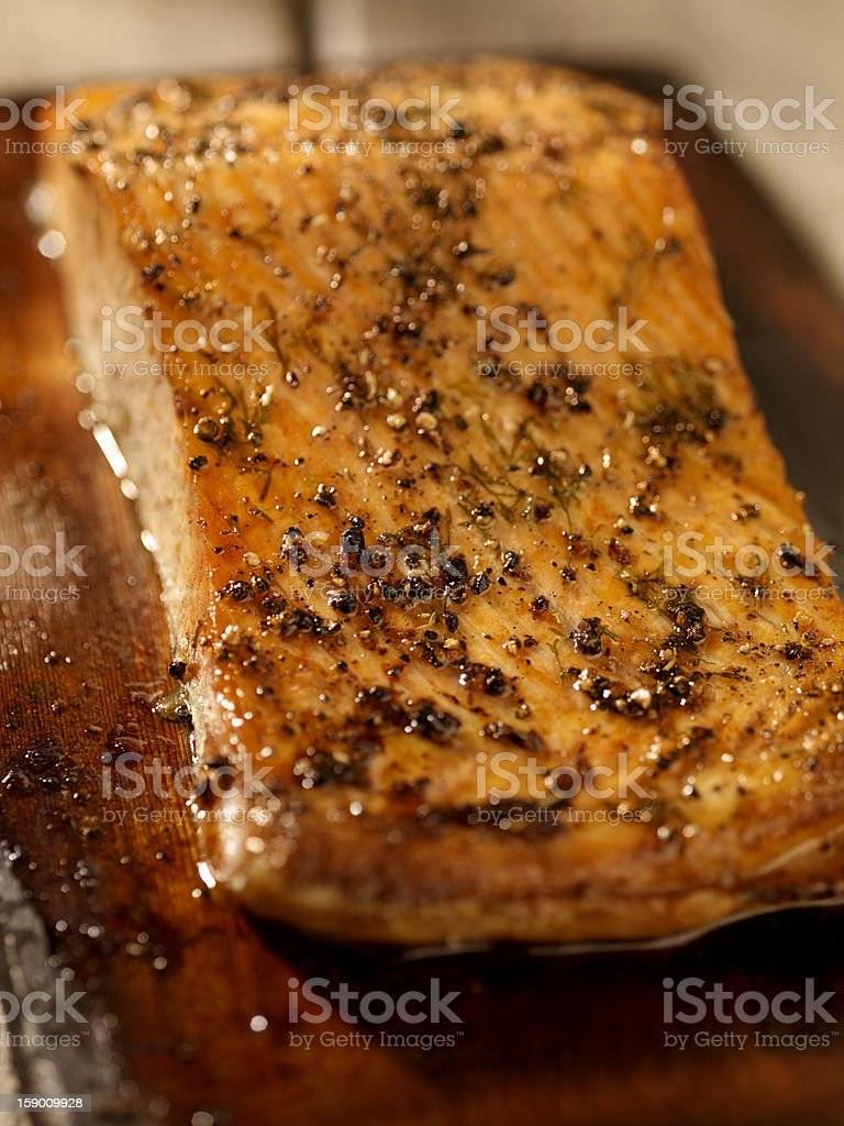 Cedar Plank Salmon fillet stock photo
