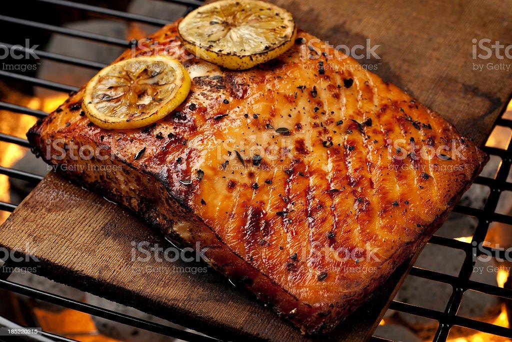 Cedar Plank Salmon stock photo