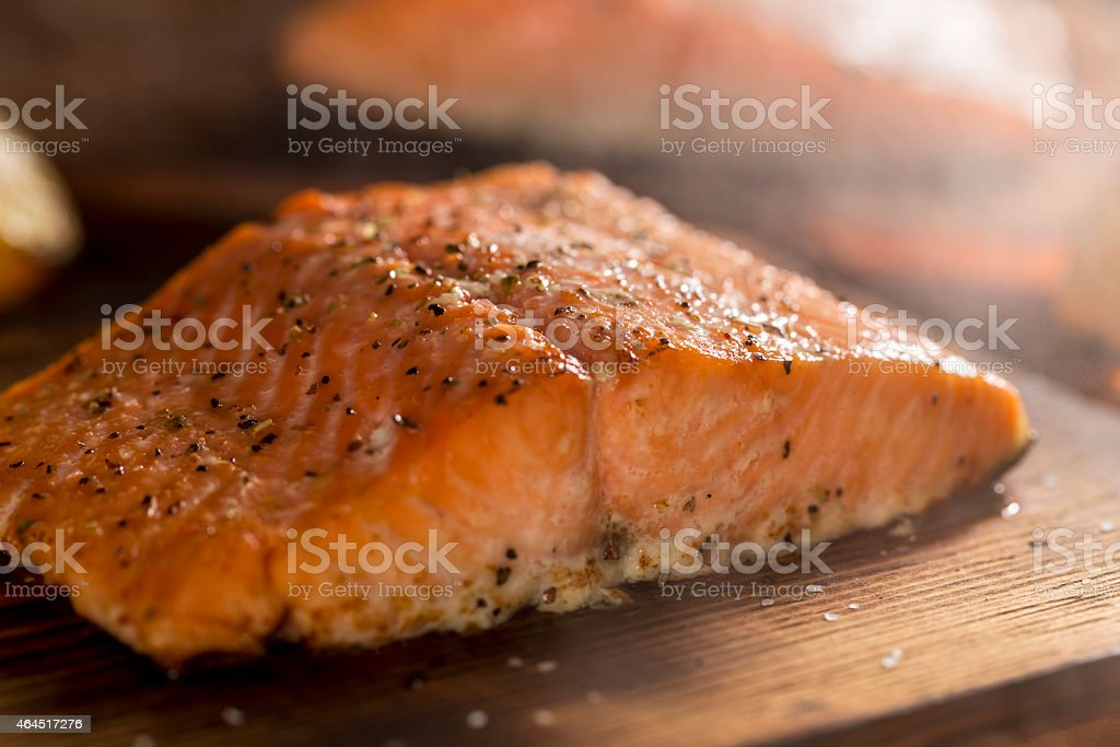 Cedar Plank Salmon stock photo