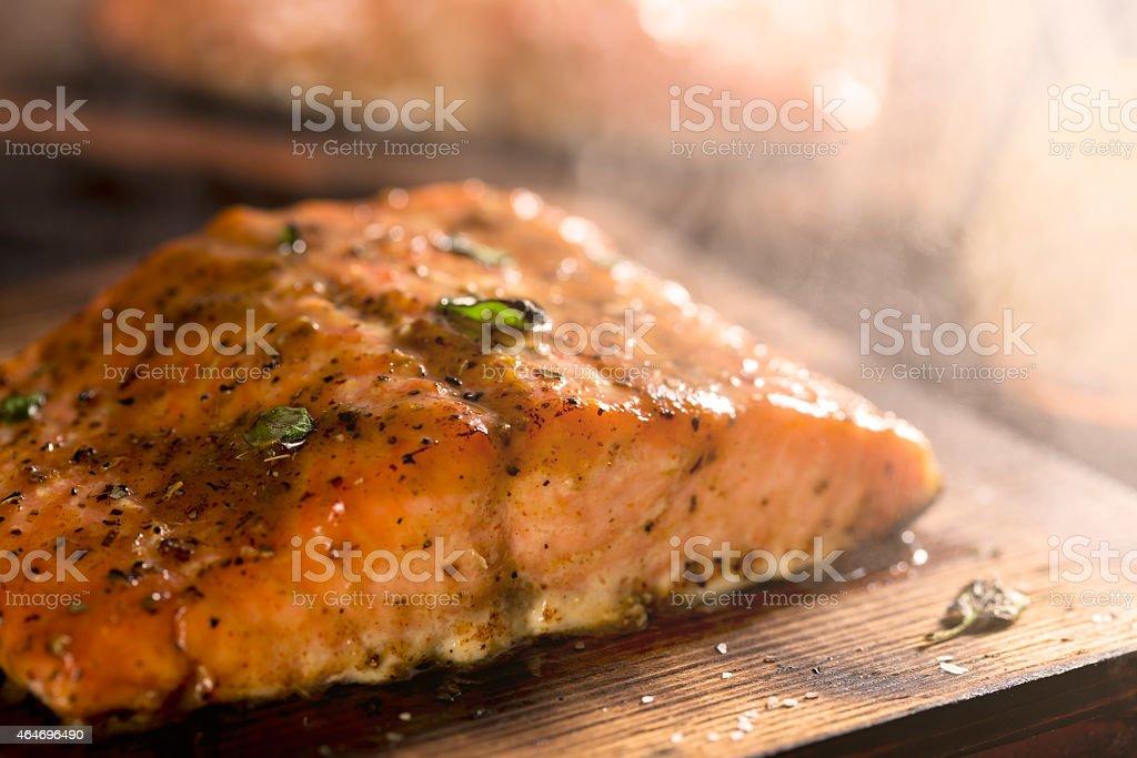 Cedar Plant Salmon stock photo