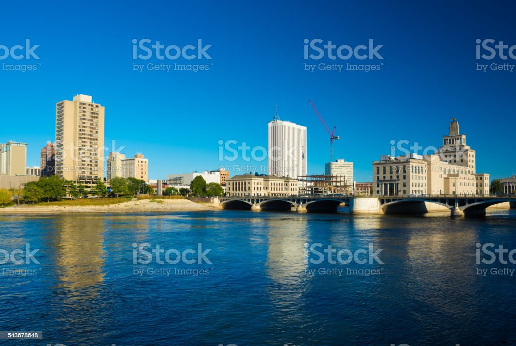 Cedar Rapids Skyline, Bridge and River stock photo