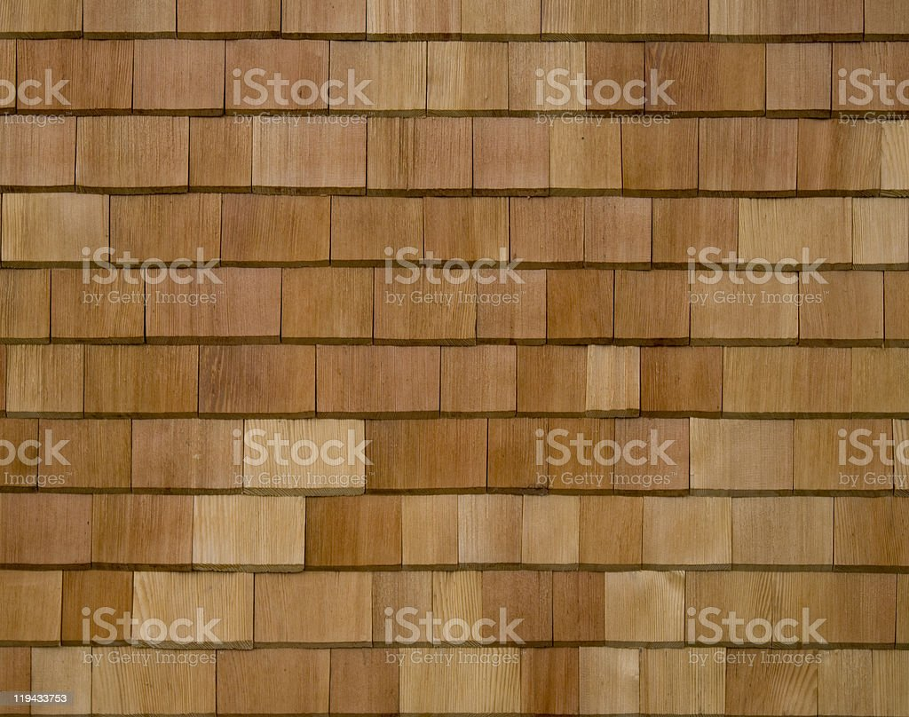 Cedar Shingled (Shakes) Wall or Roof Section stock photo