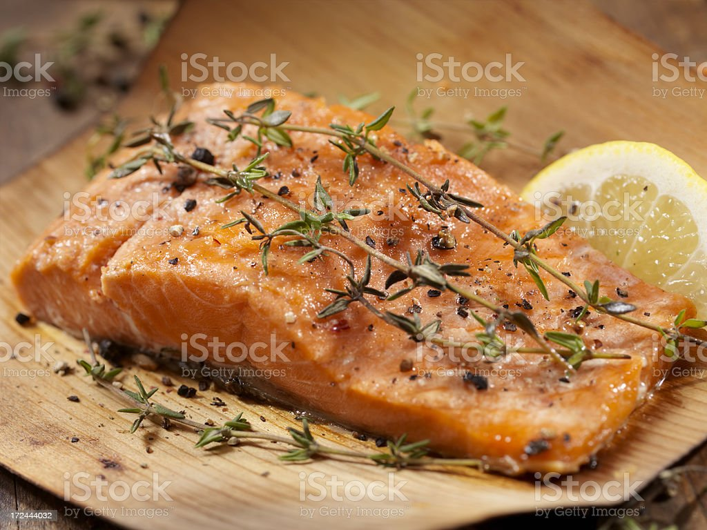 Cedar Wrapped Salmon royalty-free stock photo