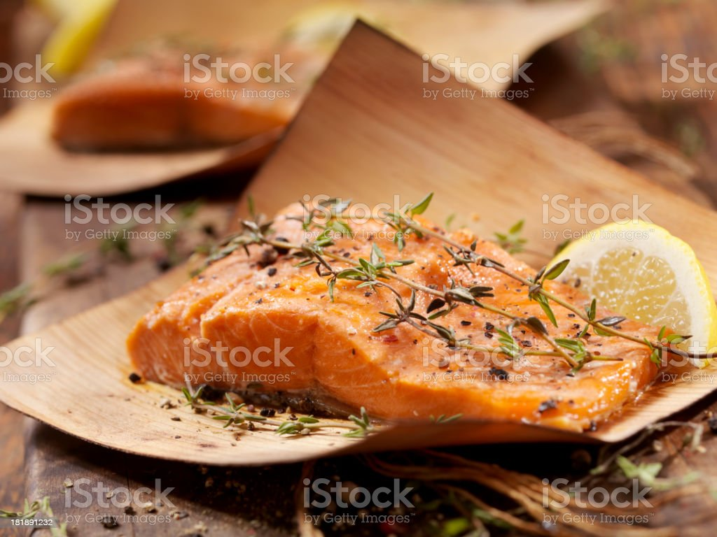 Cedar Wrapped Salmon stock photo