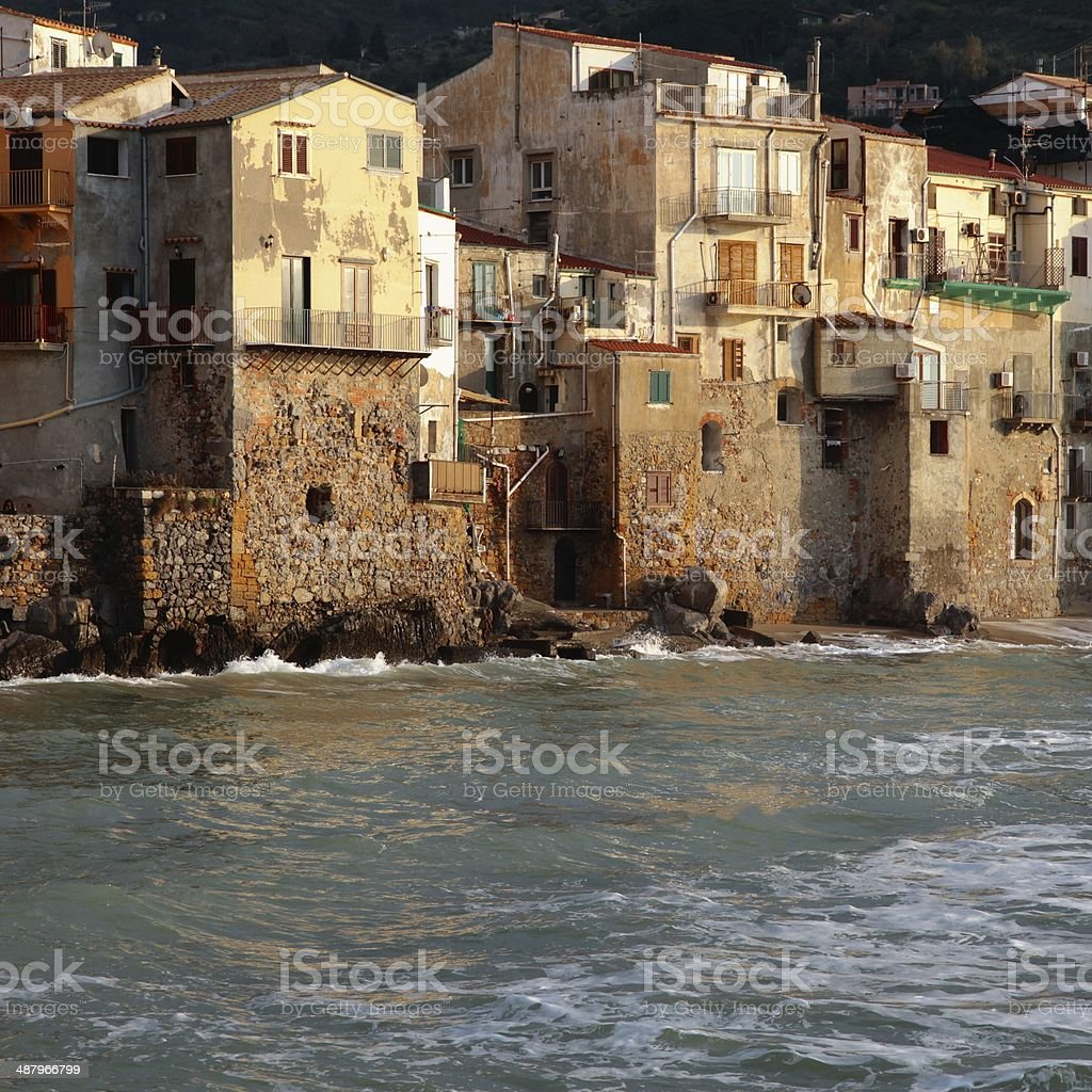 Cefalù houses waterfront Sicily stock photo