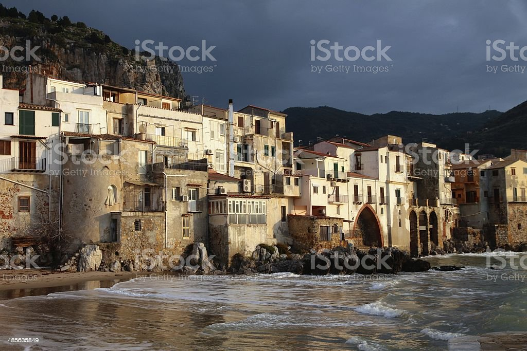 Cefalù waterfront small village Sicily stock photo