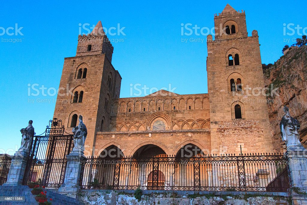 Cefalu Cathedral at Golden Hour, Sicily stock photo