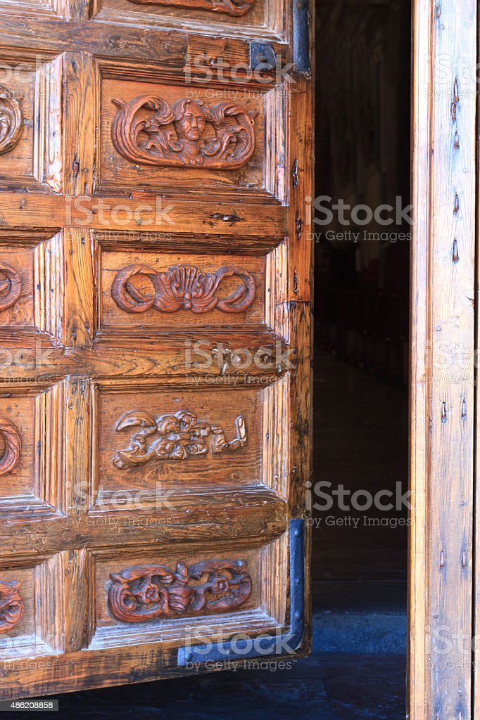 Cefalu Cathedral Wooden Door, Sicily (Close-Up) stock photo