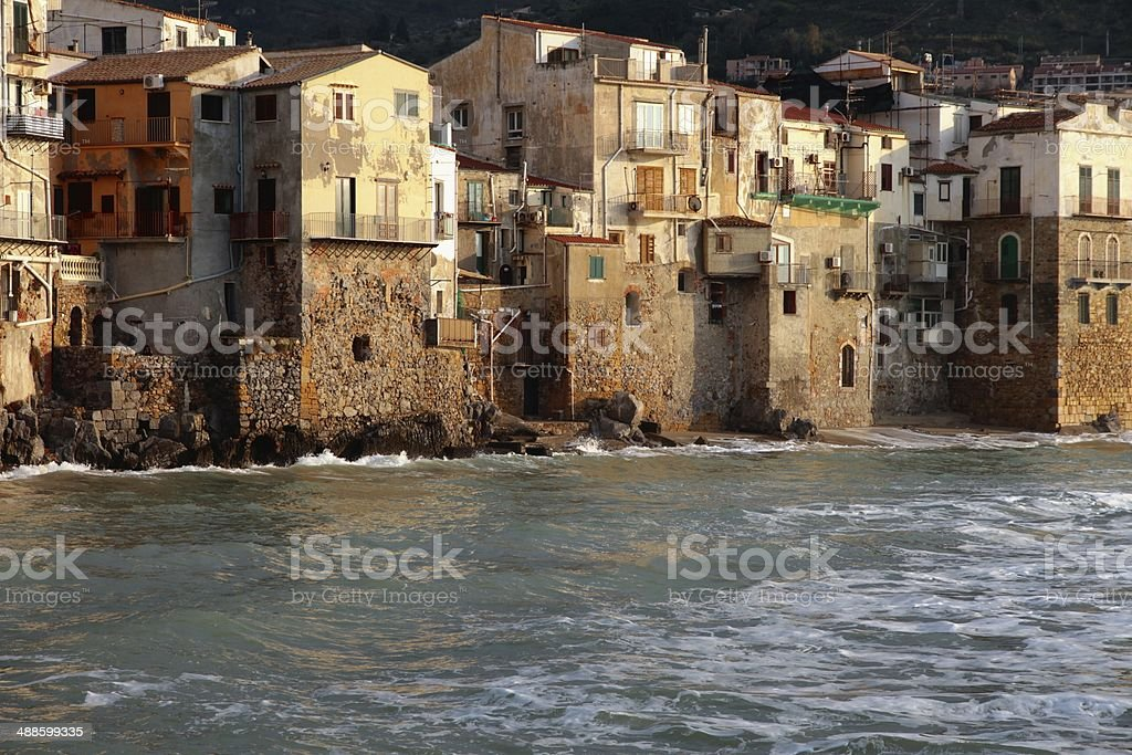 Cefalu homes on the sea village townscape Sicily stock photo
