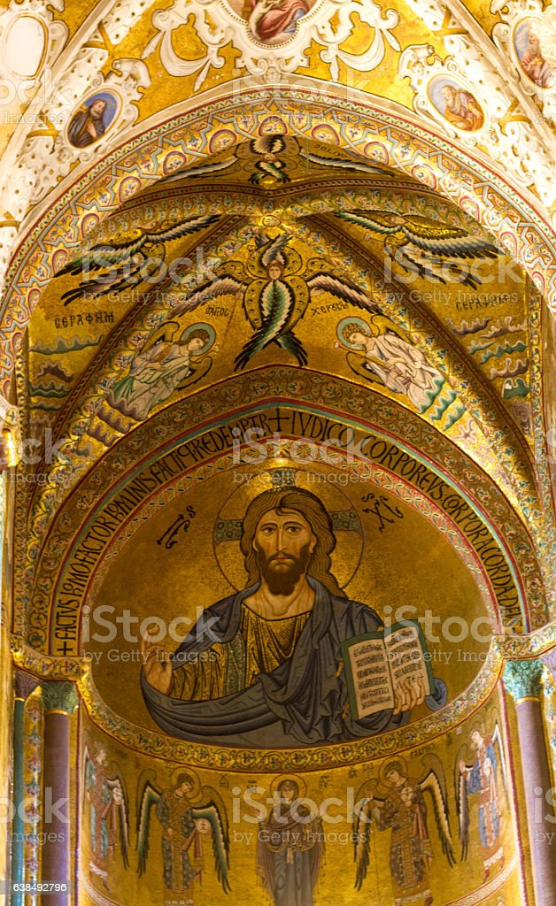 Cefalu, Sicily: Cathedral Interior Gold Mosaic of Christ Pantokrator stock photo