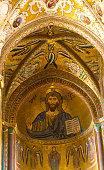 Cefalu, Sicily: Cathedral Interior Gold Mosaic of Christ Pantokrator
