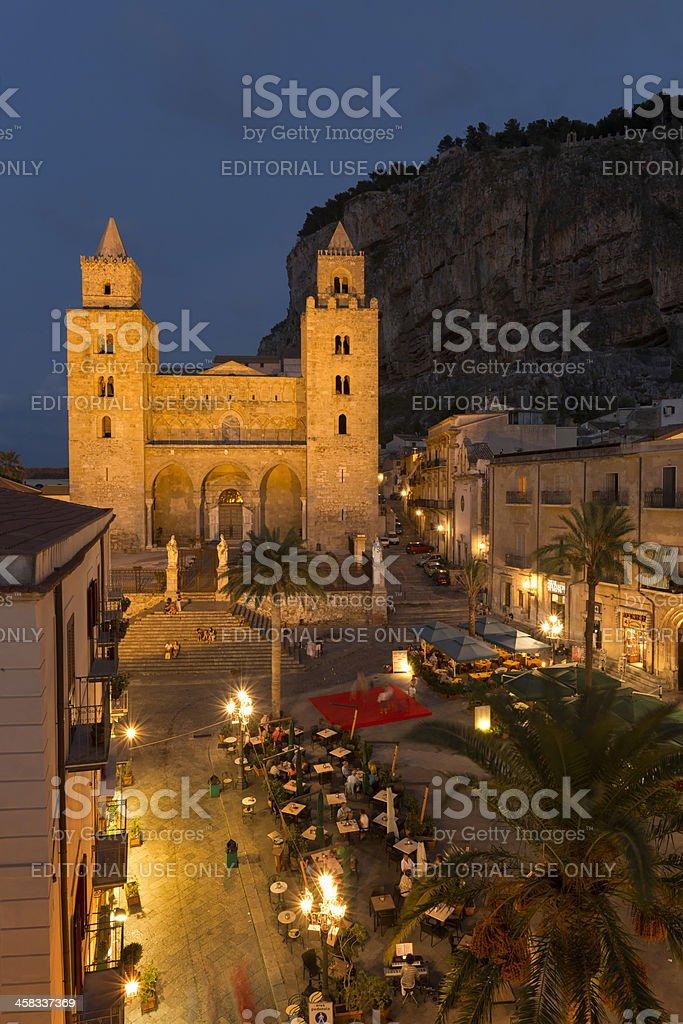 Cefalu street scene at twilight, Sicily, Italy stock photo
