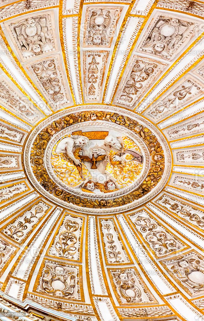 Ceiiing Dome Father Son Holy Spirit Cathedral  Mezquita Cordoba Spain stock photo