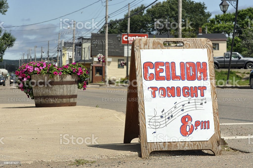 Ceilidh sign in Cape Breton, Nova Scotia stock photo