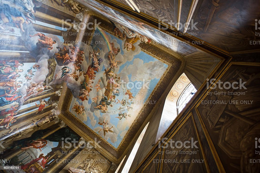 Ceiling above the King's Staircase in the William III stock photo