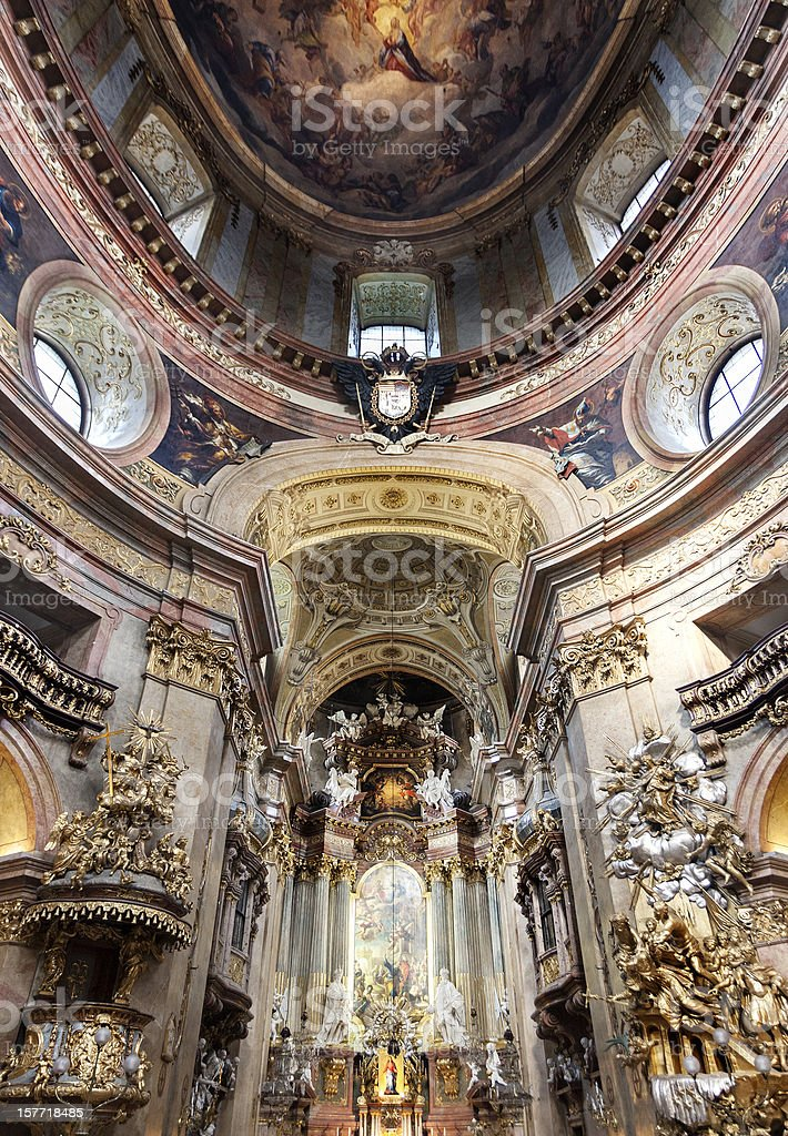 Ceiling and altar of Peterskirche, Vienna, Austria stock photo
