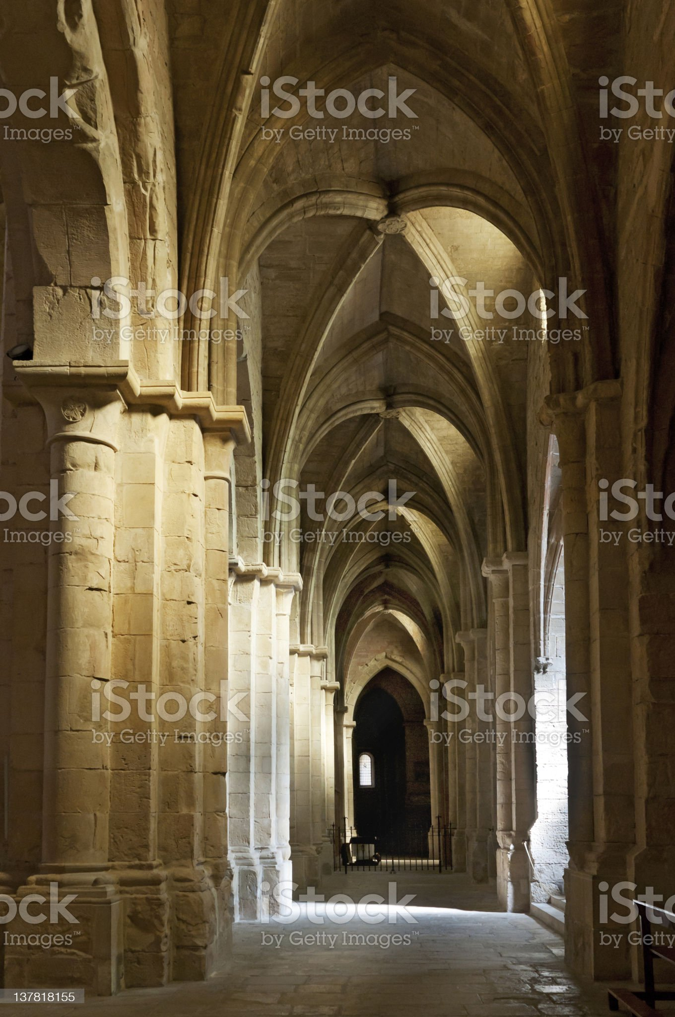 Ceiling and columns, Monastery of Santa Maria de Poblet, Spain royalty-free stock photo