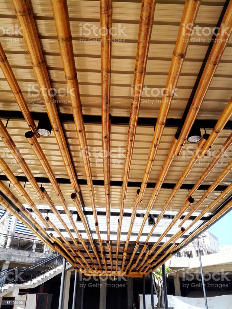 ceiling bamboo stock photo
